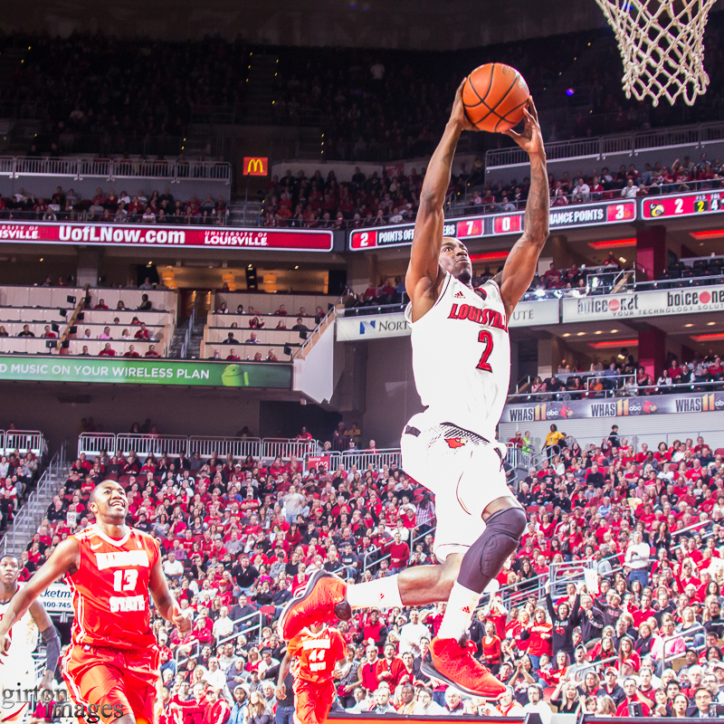 Every flash bulb in the KFC Yum! Center went off hen Russ Smith went for the dunk.
