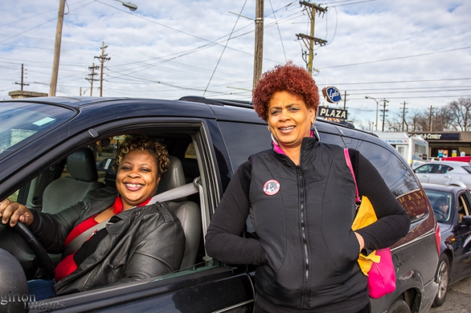 Angela Johnson and Aprila Adams are friends about to roll out for the motorcade.