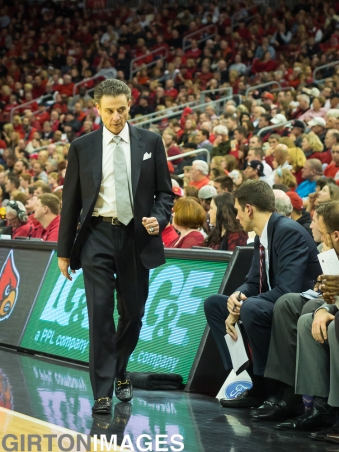A frustrated Rick Pitino paces the sideline.