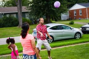 Adam keeps the ball in the air.