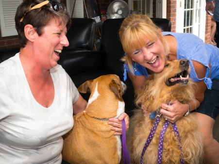 Barbara Haas and Anne Scherer with Xavier and Lucy.