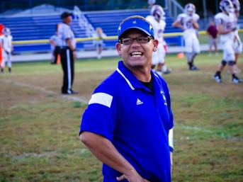 That's Coach Kevin getting his JV #Valley #Vikings together during Monday's win over #HolyCross. #GoVikings